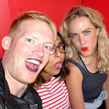 trying lipstick at the photo booth in Zurich, Switzerland in Zurich, Zurich, Switzerland