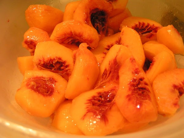 Prepare fruit; peel and remove seed from peaches, coarsely puree. I use my food...