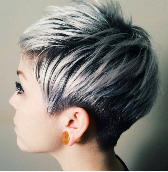 Pixie haircut on silver grey hair 1