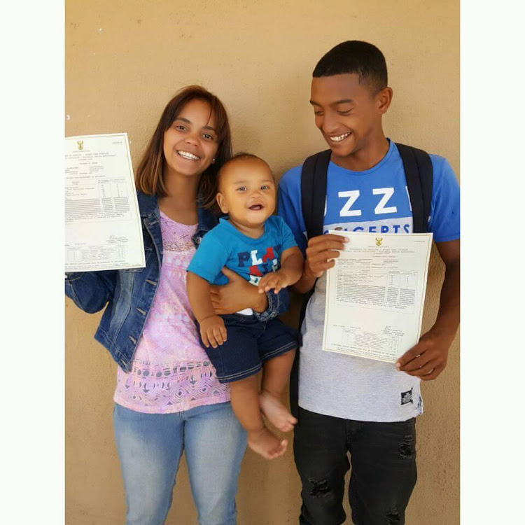 Waseema de Jager and her partner, Abid Taliep, celebrate with their son after receiving their 2018 matric results.