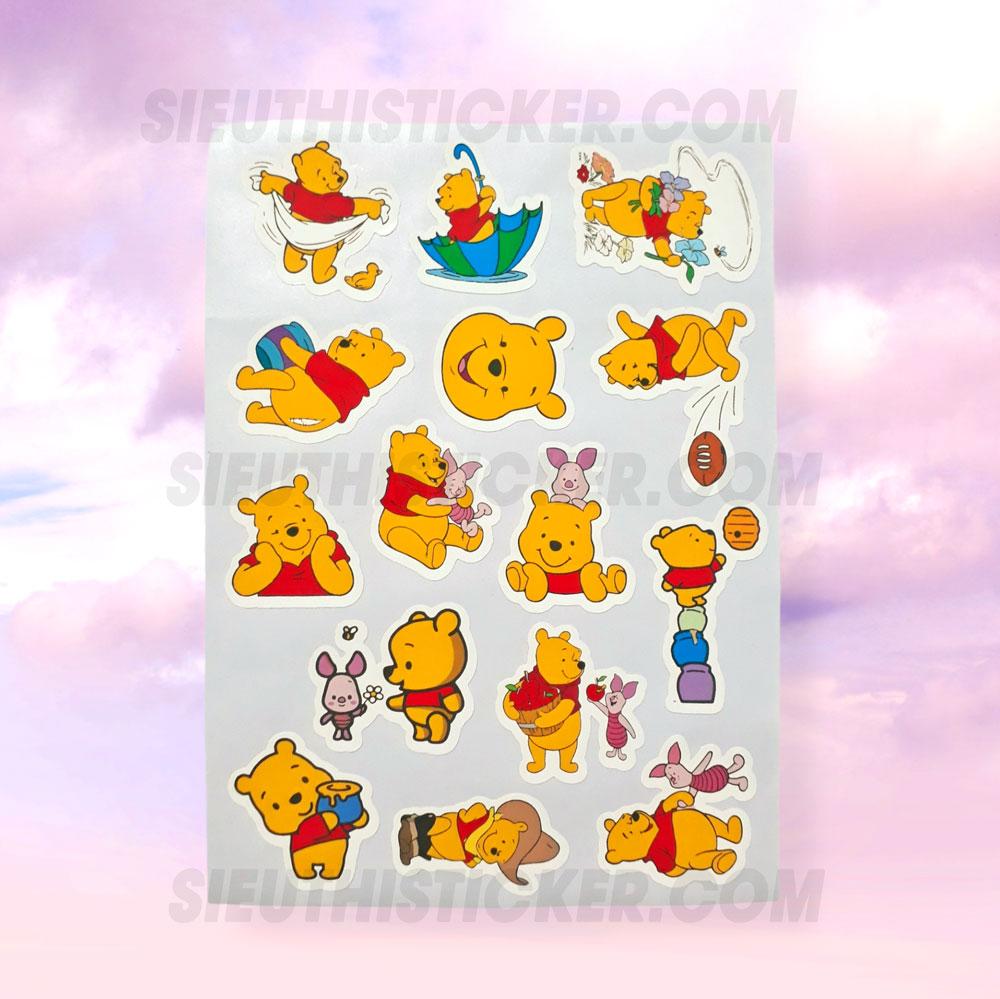sticker giấy gấu pooh trang trí notebook, tập vở