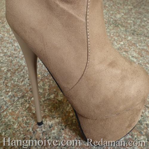 Boots cao cổ quá đầu gối, da lộn, gót nhọn, màu be 6 - Chỉ với 1.090.000đ