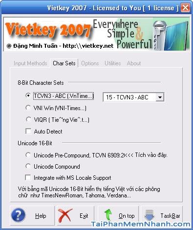 giao diện phần mềm Vietkey