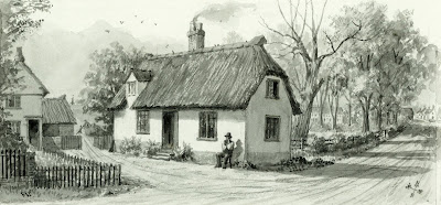 """(left to right) Kirby Lodge - obelisk hill - Mr Housden tenant seated near the house - Mount View cottages - Blacksmith's corner."" From A Record of Shelford Parva by Fanny Wale P25"