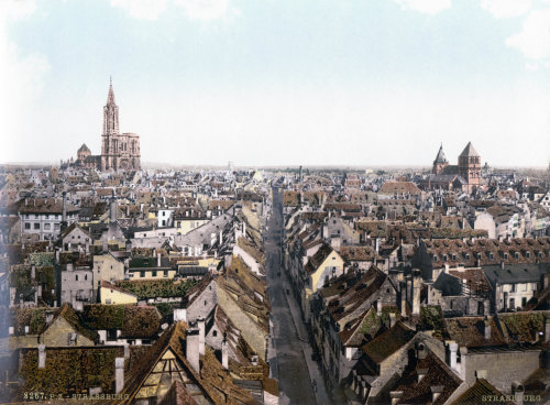 City-scape of 19th Century Strasbourg, France