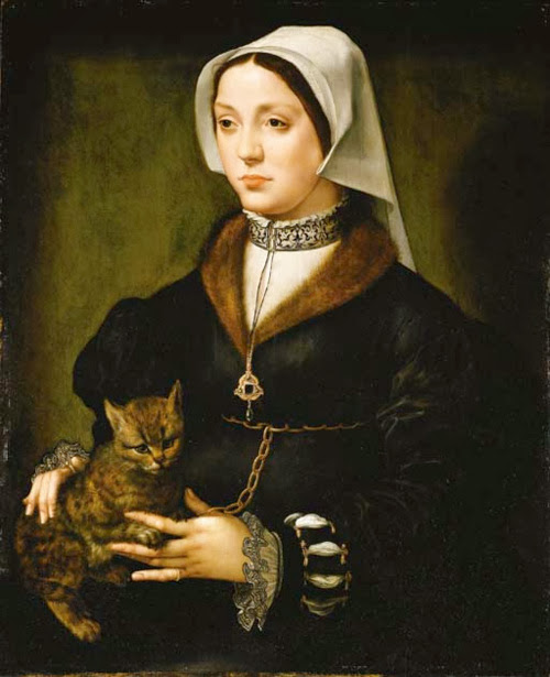 Ambrosius Benson - Portrait of a Woman with Cat.