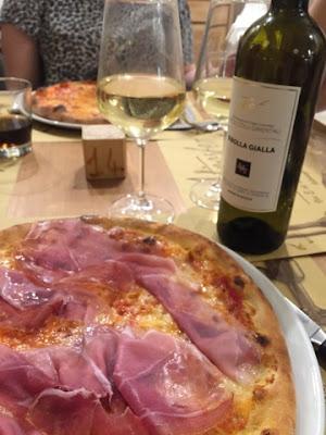 Pizza in Milan restaurant, Italy