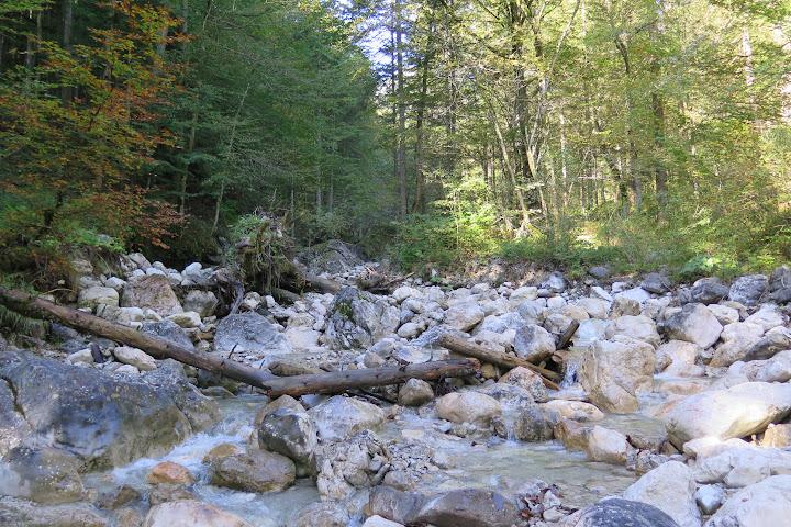 Der Weg führt an einem Bach vorbei