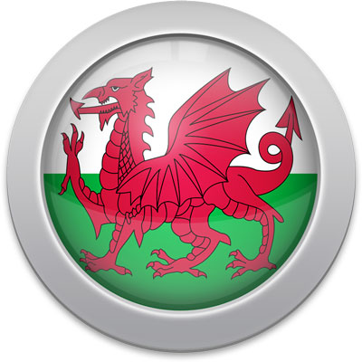 Welsh flag icon with a silver frame
