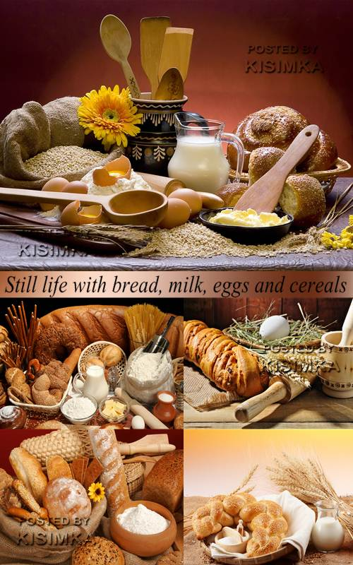 Stock Photo: Still life with bread, milk, eggs and cereals