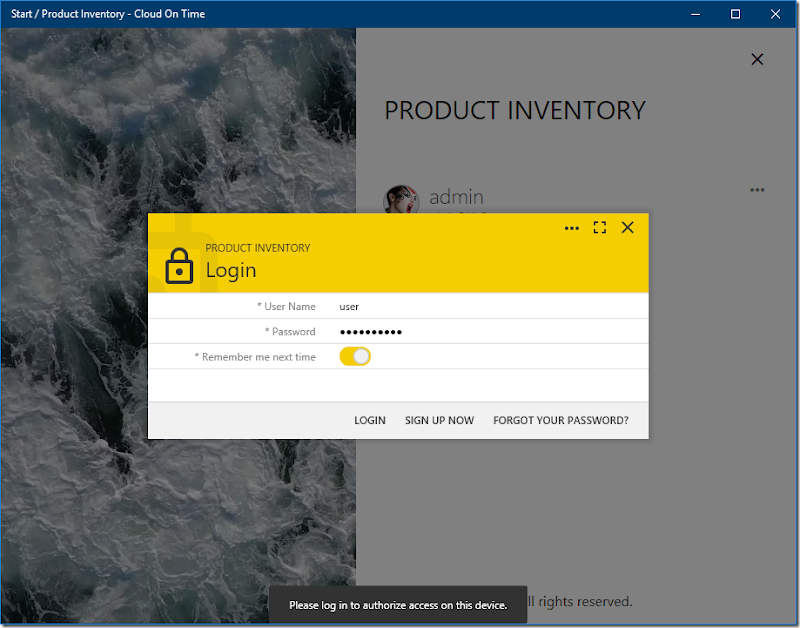 Adding an identity to a cloud running in native Universal Windows Platform app Cloud On Time.