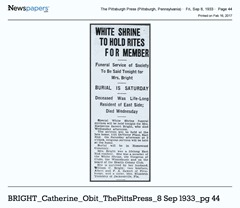 BRIGHT_Catherine_Obit_ThePittsburghPress_8 Sep 1933_pg 44