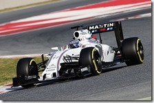 Valtteri Bottas con la Williams nei test di Barcellona 2016