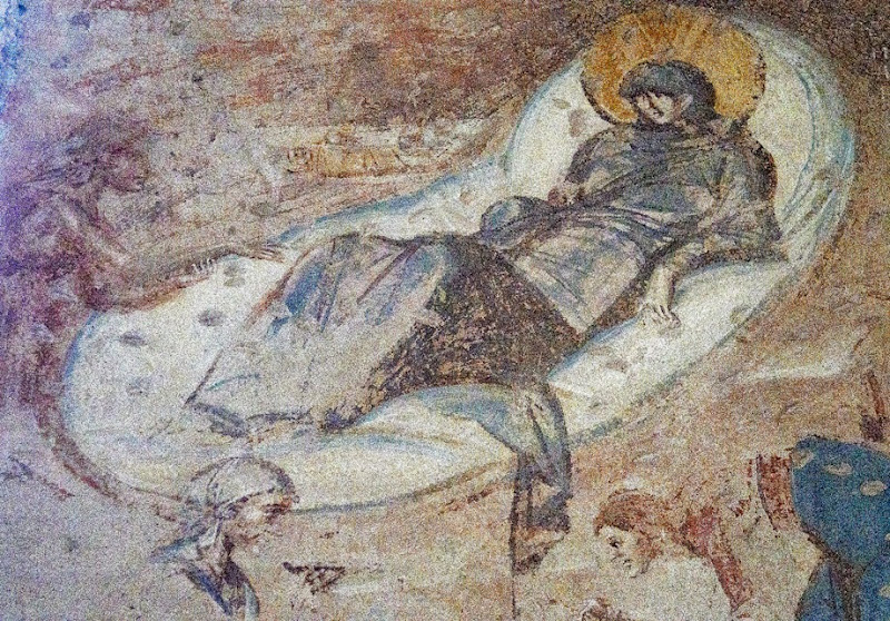 103. Fresco of The Nativity and Announcement to The Shepherds. Detail. Church of Santa Maria foris portas. Castelseprio. Province of Varese. 2013