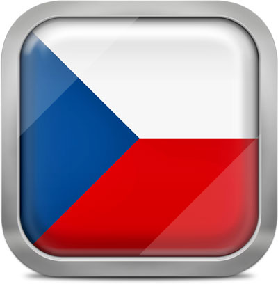 Czech Republic square flag with metallic frame