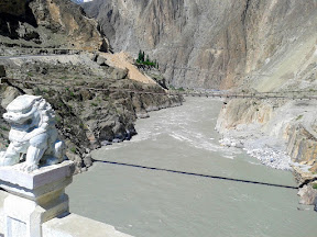 Bridge on Indus river. Enter Hunza valley from Nagar after crossing this.
