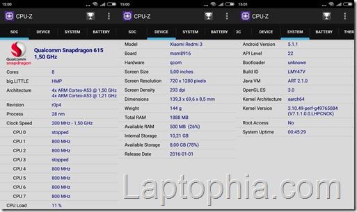 CPU-Z Xiaomi Redmi 3