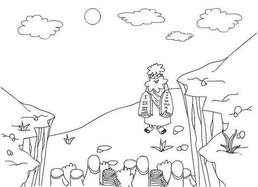 Pinto Dibujos: Moisés baja con los 10 mandamientos para colorear