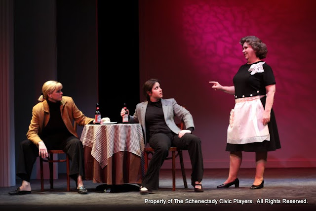 "Cristine M. Loffredo, Jennifer Van Iderstyne and Susan Katz in ""The Philadelphia"" as part of THE IVES HAVE IT - January/February 2012.  Property of The Schenectady Civic Players Theater Archive."