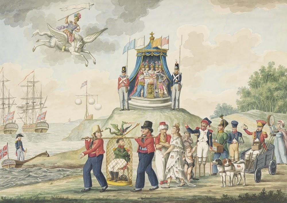 El exilio de Napoleón, con organillo, 1814.