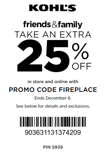 kohls friends and family coupon December 2015
