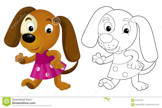 Cartoon Girl Dog  Coloring Page With Preview