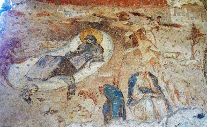 102. Fresco of The Nativity and Announcement to The Shepherds. Church of Santa Maria foris portas. Castelseprio. Province of Varese. 2013