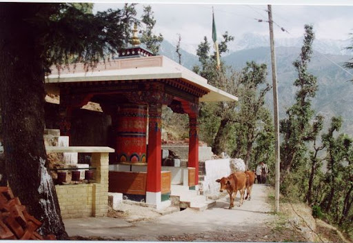 Large prayer wheel in Dharamsala, India.