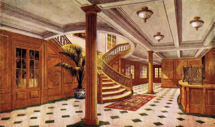 18-Vestíbulo y Oficina de Información. Buque no especificado. Libro de Información para el Pasajero. Años 1913-14.JPG