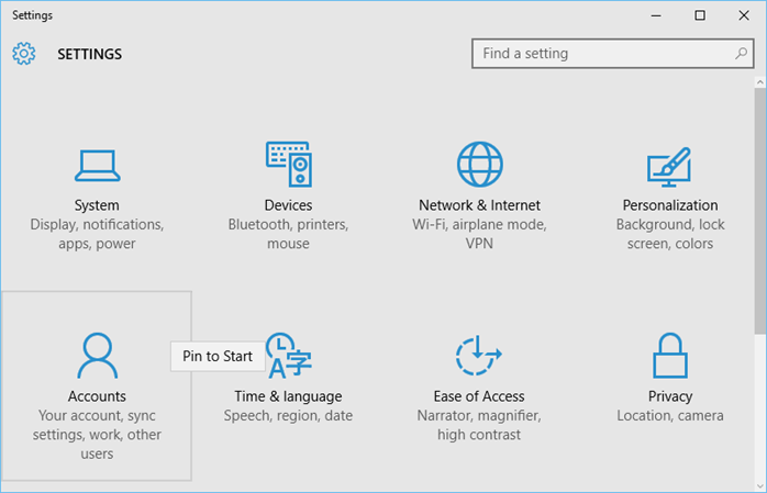 Windows 10 - Pin a Settings in Start Screen (www.kunal-chowdhury.com)