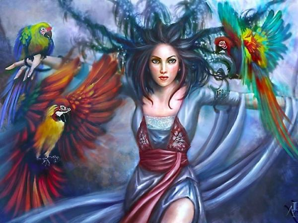 Girl With Parrots, Fairies 3