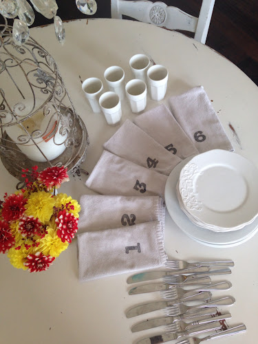 Drop cloth napkins with numbers, flower fold napkin tutorial