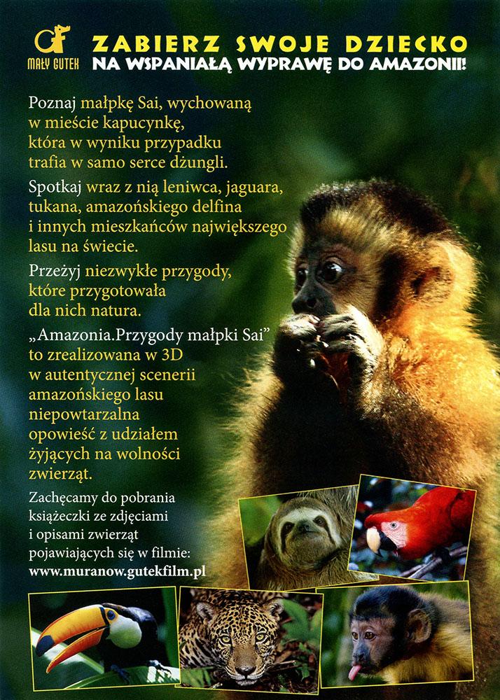 Ulotka filmu 'Amazonia. Przygody Małpki Sai (tył)'