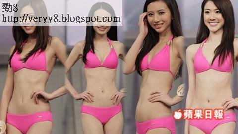 (左起)6號陳楚寰、9號蔡潔、13號曲斯雲、16號鄧佩儀「2013國際中華小姐競選」泳裝