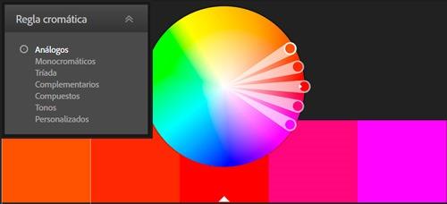 Paleta de color obtenida siguiendo una regla cromática de colores análogos.