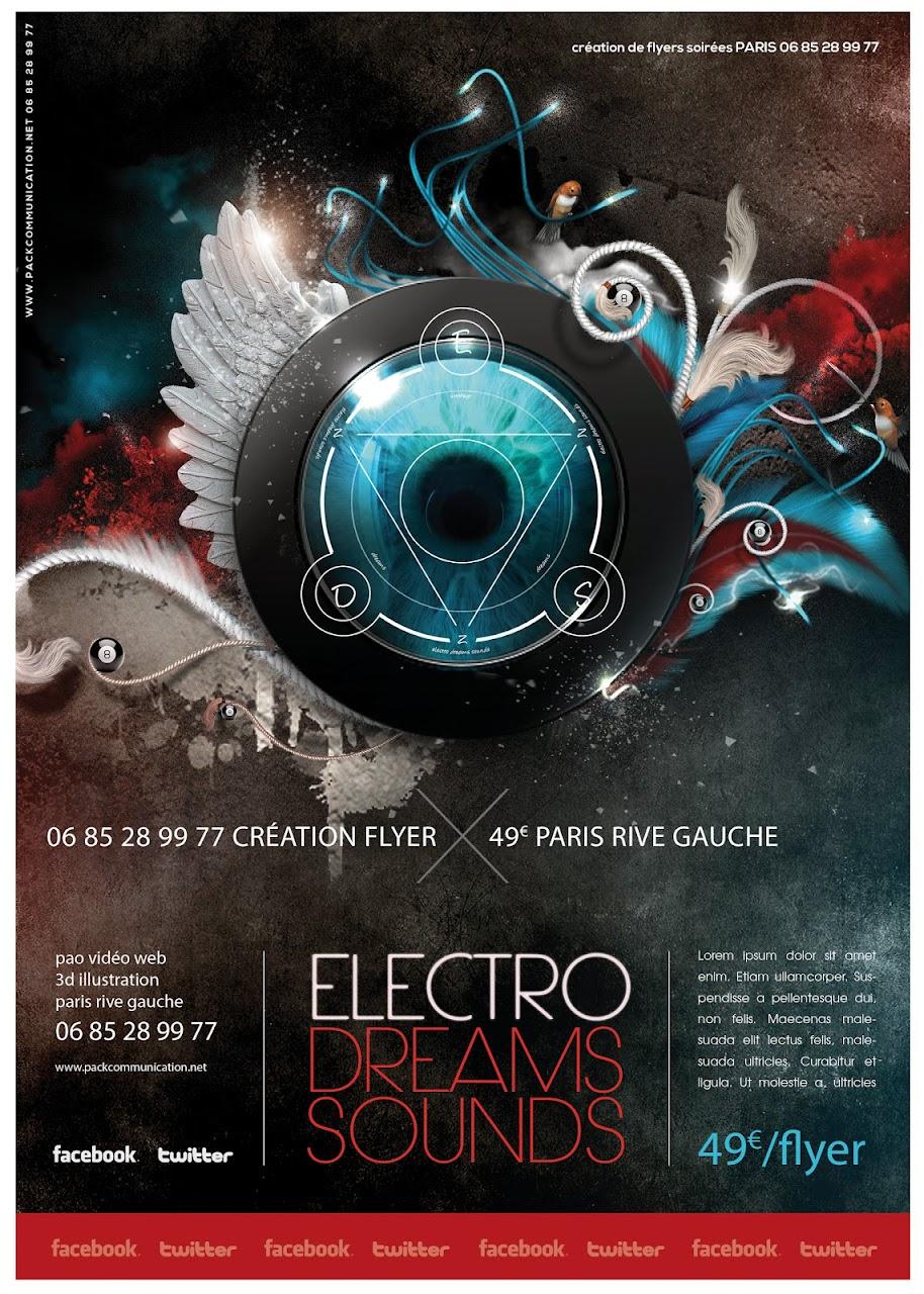création flyers soirées thème Electro Dreams Sounds