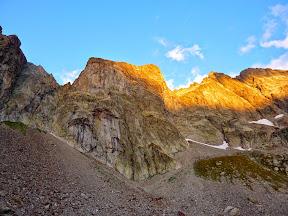La vue du refuge, au pied du Corno STella