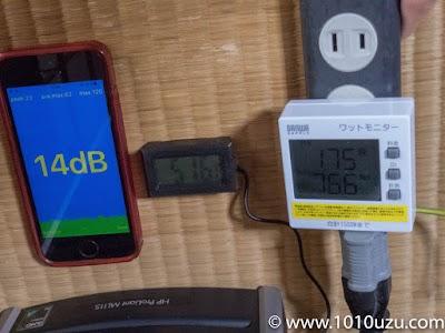 デフォルト構成・CPU使用率10%:14dB・51.6℃・79.6W
