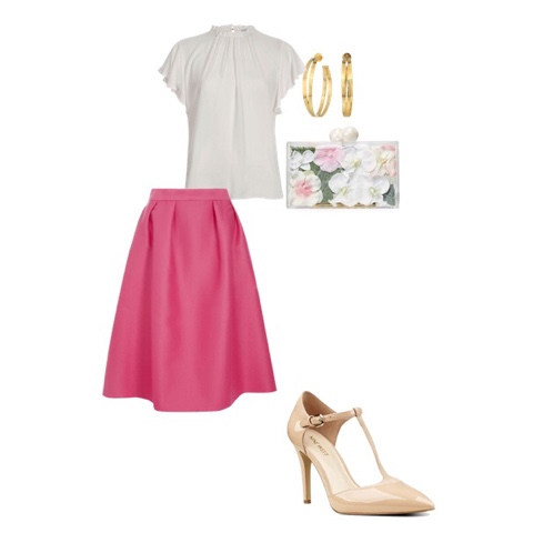 skirt shirt heels earrings purse mom mother outfit summer brunch fashion sunday