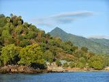The beautiful pyramid peak of Tuntuli as seen from the boat to Pulau Pura (Dan Quinn, July 2013)