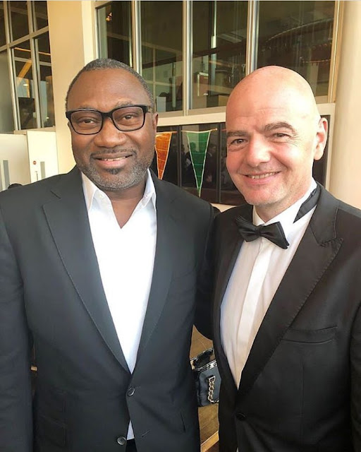 Femi Otedola Pictured With Gianni Infantino, FIFA President