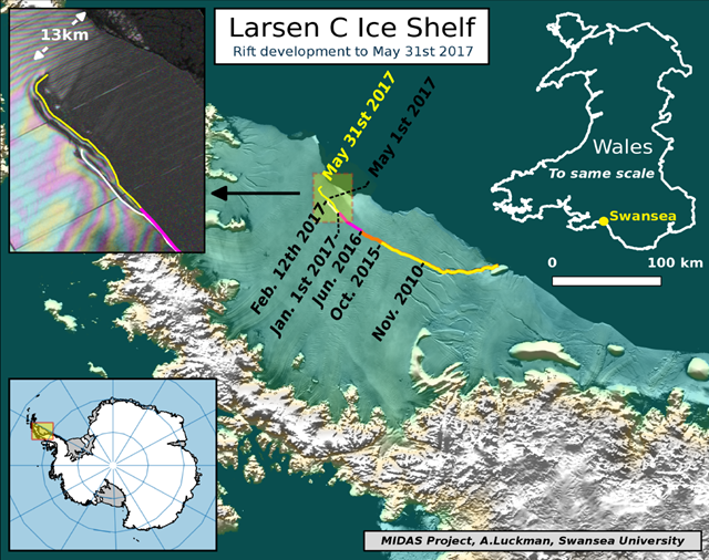 The location of the rift on Larsen C ice shelf on 31 May 2017. Labels highlight significant jumps. Tip positions are derived from Landsat (USGS) and Sentinel-1 InSAR (ESA) data. Background image blends BEDMAP2 Elevation (BAS) with MODIS MOA2009 Image mosaic (NSIDC). Other data from SCAR ADD and OSM. Graphic: Adrian Luckman / MIDAS Project / Swansea University