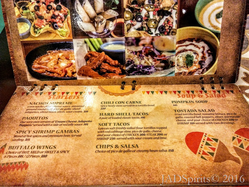 The Spanglish Menu offering for Starters like Nacho Supreme, Paquitos, etc.