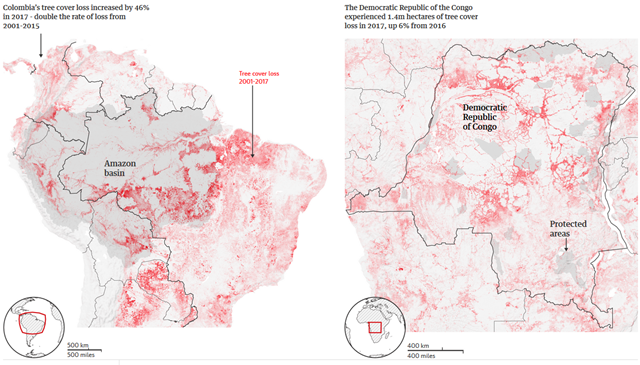 Tree cover loss in South America (left) and the Democratic Republic of the Congo (right) in 2017. Graphic: The Guardian