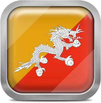 Bhutan square flag with metallic frame