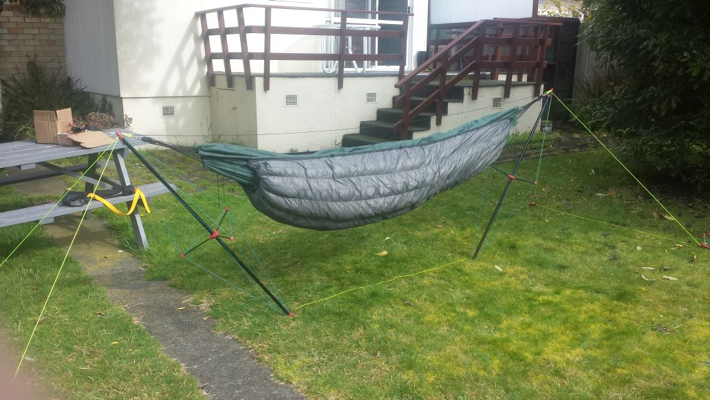 i now have side racks and a pair of nelson rigg saddle bags as well as a really huge 110 litre roll top duffel that straps to the rear rack i believe there     summer is  ing in nicely down in nz getting my camping setup      rh   hammockforums