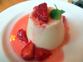 Coffee and dessert idea after the The Trip to Italy movie at Accanto: Rose panna cotta with strawberries and lambrusco
