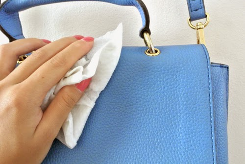 To remove stains on patent leather handbags dab them with a cheesecloth dipped in white vinegar Always spottreat first to test