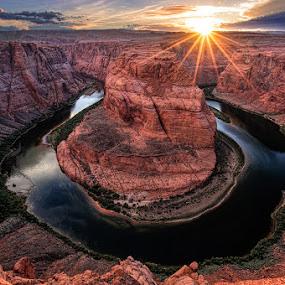 Sunset at Horseshoe Bend by Tom Charoensinphon - Landscapes Sunsets & Sunrises ( water, u, sunset, arizona, canyon, rock, landscape, horseshoe )