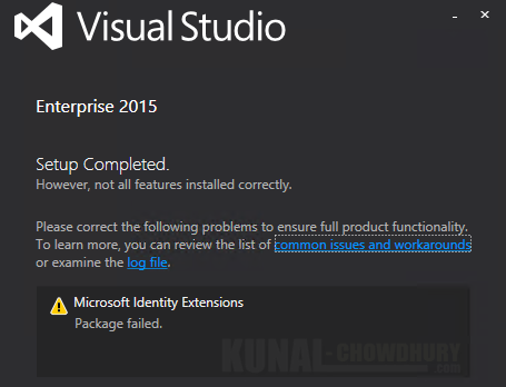 Microsoft Identity Extensions cannot be installed during Visual Studio 2015 installation (www.kunal-chowdhury.com)